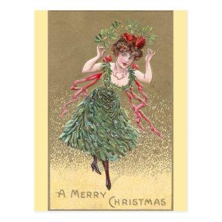 Señora con navidad del vintage del vestido del mué tarjeta postal
