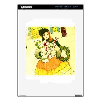 Señora con sus brazos llenos de regalos de Navidad iPad 3 Skin