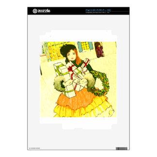 Señora con sus brazos llenos de regalos de Navidad Skins Para eliPad 2