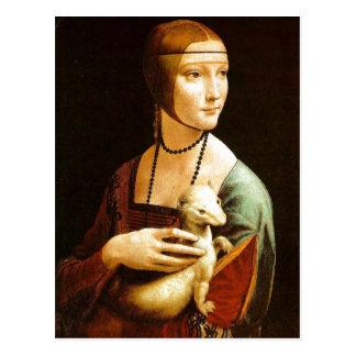 Señora con un armiño de Leonardo da Vinci, 1483, o Tarjeta Postal