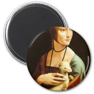 Señora con un armiño de Leonardo da Vinci C. 1490 Imán Redondo 5 Cm