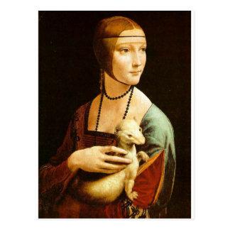 Señora con un armiño de Leonardo da Vinci C. 1490 Postal