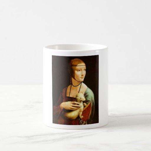 Señora con un armiño de Leonardo da Vinci C. 1490 Tazas