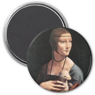 Señora con un armiño imán redondo 7 cm