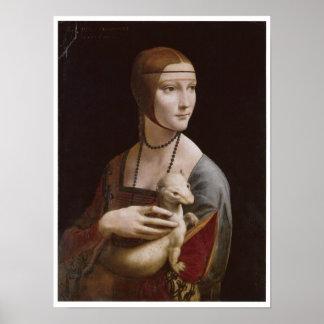 Señora con un armiño, Leonardo da Vinci, 1485 Póster