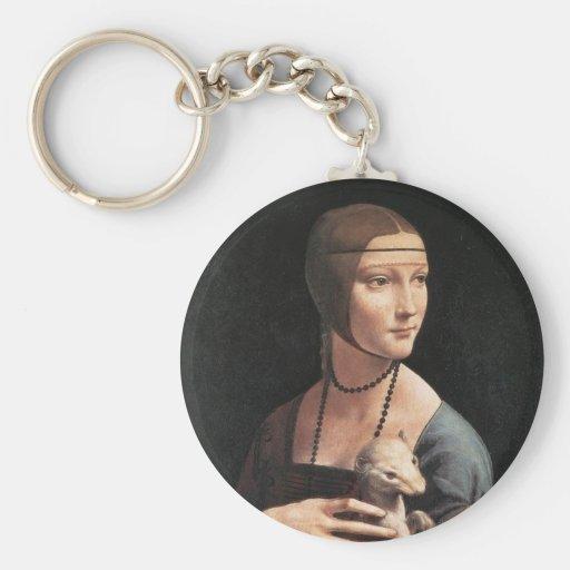 Señora con un armiño llavero redondo tipo pin