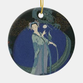 Señora con un dragón (litho del color) adorno navideño redondo de cerámica