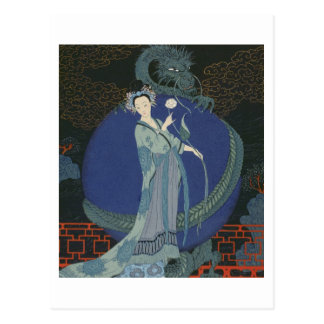 Señora con un dragón (litho del color) tarjetas postales