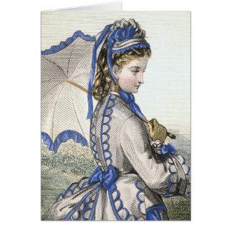 Señora con un parasol tarjeta de felicitación