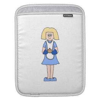 Señora con un plato caliente de la comida. En azul Manga De iPad
