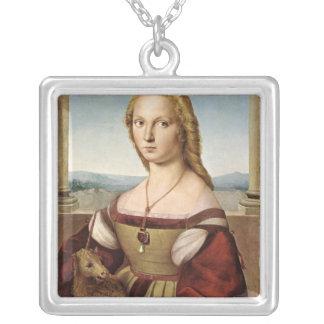 Señora con un unicornio por el collar de Raphael