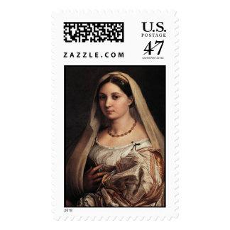 Señora con un velo sello postal