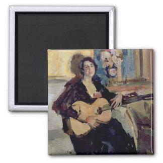 Señora con una guitarra, 1911 imán cuadrado