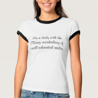 Señora con vocabulario de la camiseta instruida playera