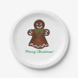 Señora Cookie Plates del pan de jengibre de las Plato De Papel De 7 Pulgadas