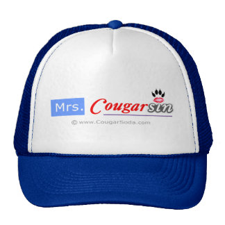 Señora Cougarsin (logotipo azul y rojo) Gorro De Camionero