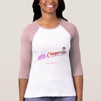 Señora Cougarsin (rosa y diseño rojo) Camiseta