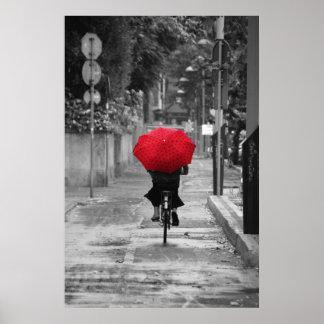 Señora Cyclist con un paraguas rojo, Florencia, It Póster