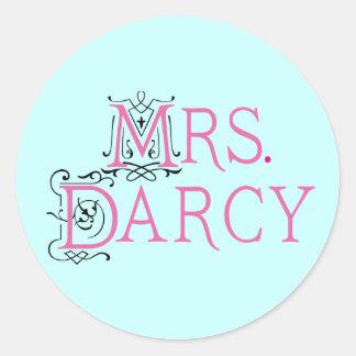 Señora Darcy Gift de Jane Austen Pegatina Redonda