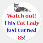 Señora de 85 gatos pegatina redonda