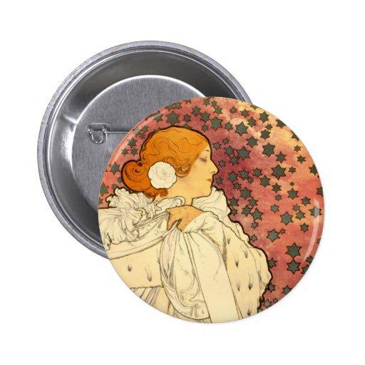 Señora de Alfonso Mucha del botón de Camelias Pins
