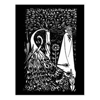 Señora de Beardsley Nouveau y postal de los pavos