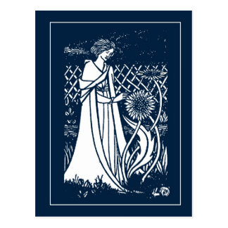 Señora de Beardsley y postal de los girasoles
