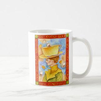 Señora de bolsita de té taza