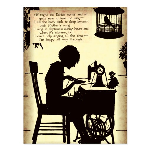 Señora de costura cantante Vintage Fairy Poem Tarjetas Postales