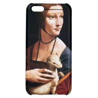 Señora de da Vinci con un caso del iPhone 5 del ar