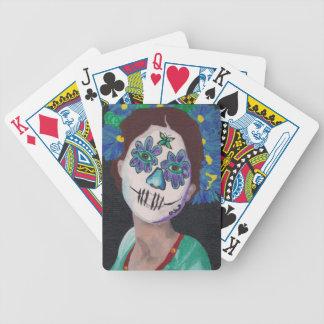Señora de Dia De Los Muertos Blue Barajas De Cartas