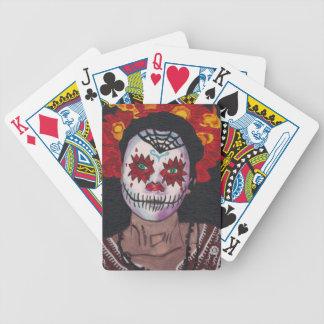 Señora de Dia De Los Muertos Red Baraja Cartas De Poker