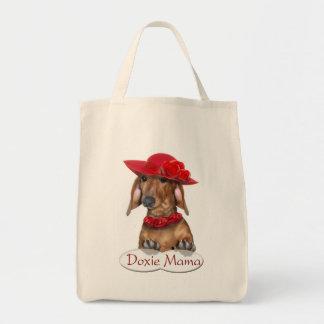 Señora de Doxie en bolso de compras rojo Bolsa Tela Para La Compra