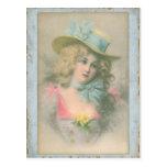 Señora de Edwardian del vintage en Blue1900s Postal