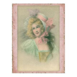 Señora de Edwardian del vintage en el ejemplo rosa Tarjeta Postal