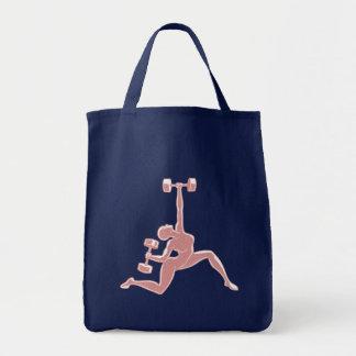 Señora de elevación bolsa tela para la compra