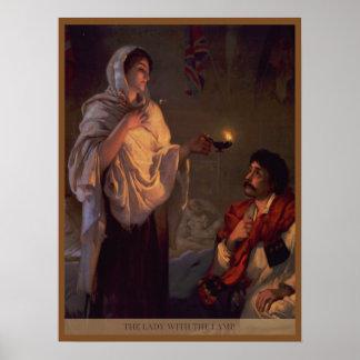 Señora de Florence Nightingale con la lámpara Poster