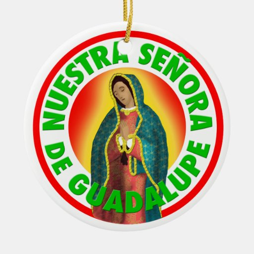 Señora de Guadalupe Adorno Navideño Redondo De Cerámica