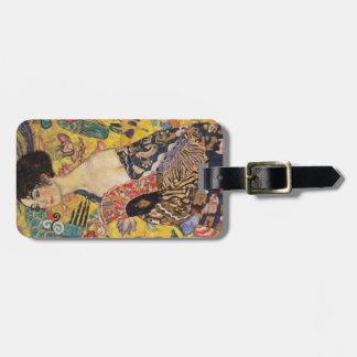 Señora de Klimt con bella arte de la fan Etiquetas Para Maletas