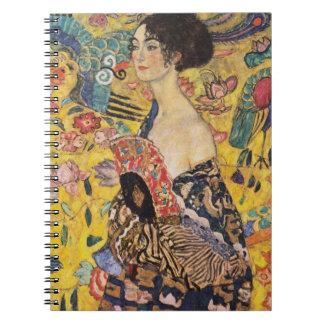 Señora de Klimt con bella arte de la fan Libretas