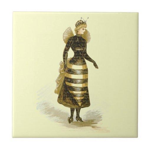 Señora de la abeja del vintage tejas