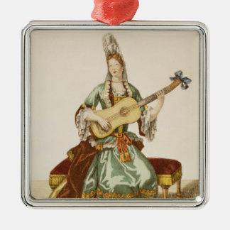 Señora de la calidad que toca la guitarra, placa ornato