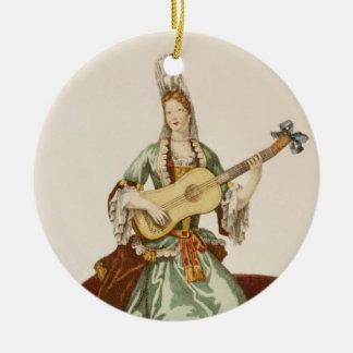 Señora de la calidad que toca la guitarra, placa adornos de navidad