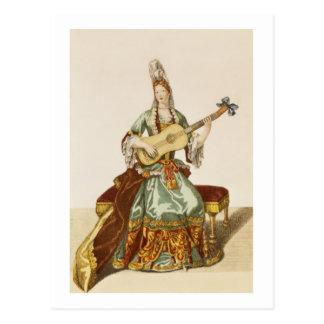 Señora de la calidad que toca la guitarra, placa tarjetas postales