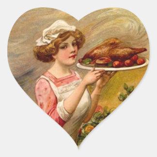 Señora de la cena de la acción de gracias del colcomanias de corazon personalizadas