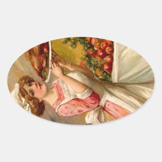 Señora de la cena de la acción de gracias del calcomania ovaladas personalizadas