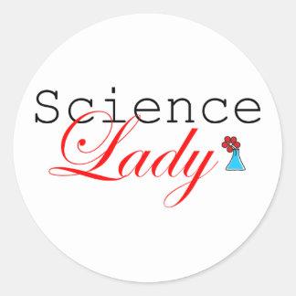 Señora de la ciencia pegatina redonda
