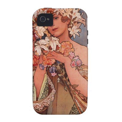 Señora de la flor blanca - Mucha iPhone 4 Carcasa