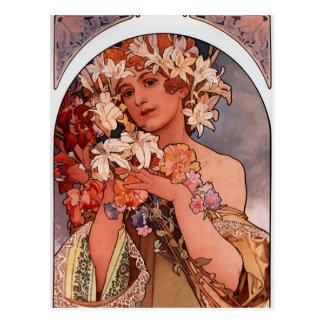 Señora de la flor blanca - Mucha Tarjetas Postales