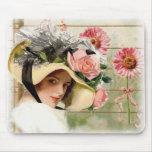 Señora de la flor del vintage alfombrilla de ratón
